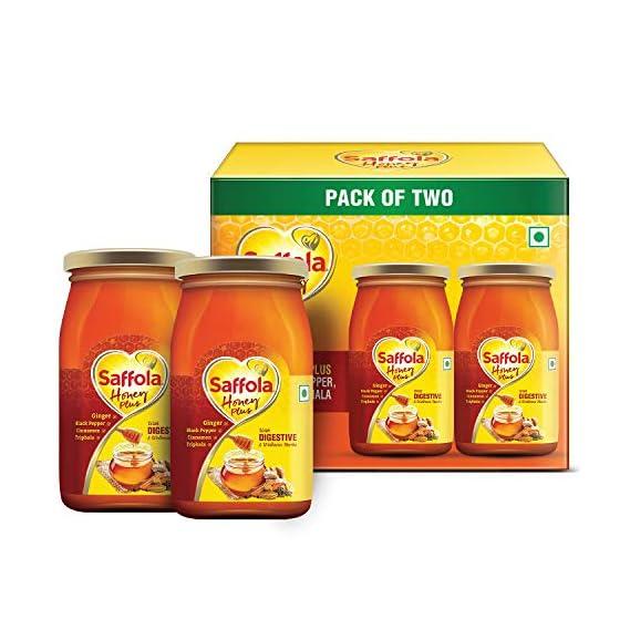 Saffola Honey Plus Ginger, Black Pepper, Cinnamon, Triphala Jar, 2 x 250 g