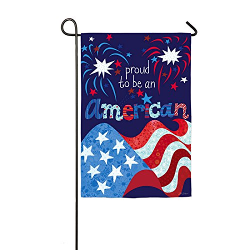 Proud To Be An American Glitter Accented Garden Flag