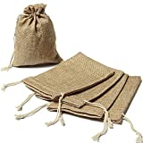 3.5 x 5.5 Inch Natural Jute Hessian Drawstring Jewelry Gift Bag Sacks Rustic Country Wedding Party Decoration (50)