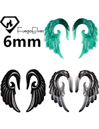 6mm Wings Fuego Elves Mix Colors Acrylic Spiral Taper Plug Gauge Ear Stretching Kit, Vintage Angel Wings 3 Pairs Tapers Tunnels Plugs Ear Stretching