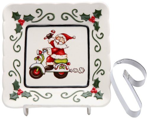 Cosmos Gifts 10659 Santa Riding Scooter Plate with Candy Cane Cookie Cutter, 5-1/2-Inch