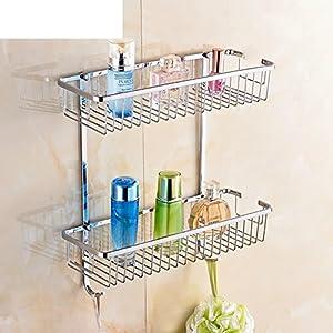 hot sale Bathroom racks/Bathroom racks/the shelf in the bathroom/Square storage basket with hooks-C