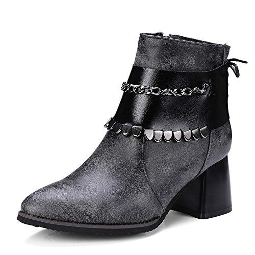 ZHZNVX HSXZ Zapatos de Mujer Invierno Primavera Polipiel Forro de Piel Confort Botas de Tacón Chunky Señaló Toe Botines/Botines Sequin for Casual Gris Negro,Gris,US8/UE39/UK6/CN39