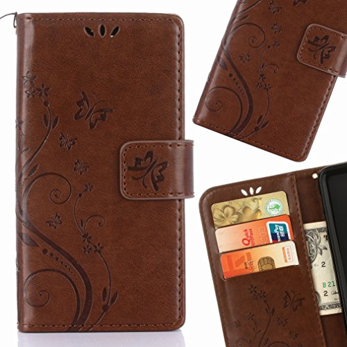 Yiizy Samsung Galaxy J1 Mini Prime / J106F Funda, Hierba FlorDesign Premium PU Leather Slim Flip Wallet Cover Bumper Protective Shell Pouch with Media Kickstand Card Slots (Marrón)