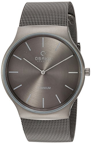 Obaku Men's Quartz Titanium and Stainless Steel Dress Watch, Color:Grey (Model: V178GXTJMJ)