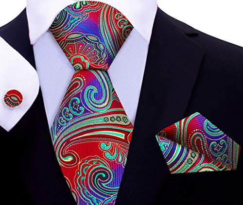 Twenty Dollar Tie Men's Venice Paisley Tie Pocket Square Cuff-links Set (Red/Blue/Green)
