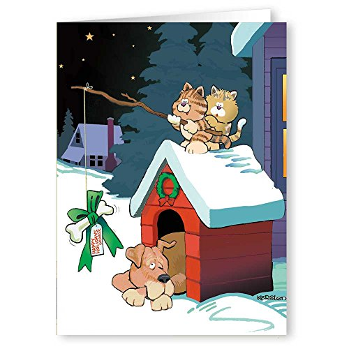 Funny Cat & Dog Christmas Card - 18 Funny Christmas Cards & Envelopes