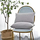 Decorative Pillow Cover - Kevin Textile Decor Solid Decorative Toss Pillow Case Striped Jacquard Cushion Cover for Lumbar,Light Grey,12x20-inch (30x50cm), 2 Pieces