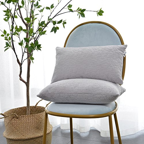 Kevin Textile Decor Solid Decorative Toss Pillow Case Striped Jacquard Cushion Cover for Lumbar,Light Grey,12x20-inch (30x50cm), 2 Pieces ()