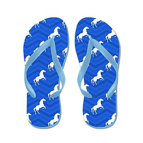 Cafepress Kobaltblauw, Wit Paard, Paardensport, Chevron Pat - Flip Flops, Grappige Leren Sandalen, Strand Sandalen Caribbean Blue