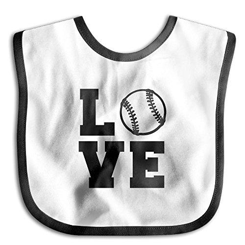 Safe Cotton Kids Lunch Bibs Love Baseball Black Baby Saliva Towel Cute Feeding Snap