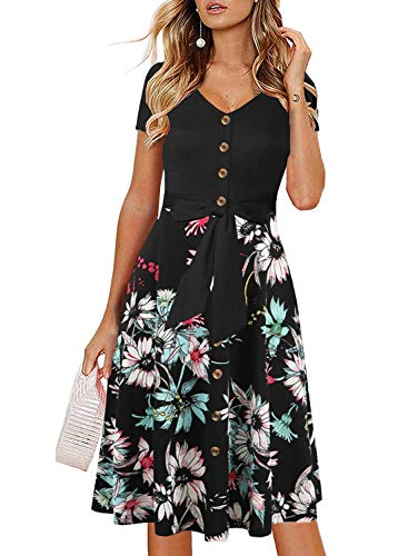 Drimmaks Women's Button Down Belted Dress V-Neck Short Sleeve Floral Contrast Swing Flared Church Party Dress(033-Black Floral2, XL)