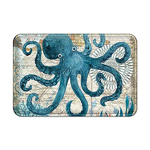 Uphome Sea Theme Bath Mat for Bathroom Tub, Blue Octopus Rubber Non Slip Bath Rug Velvet Foam Coastal Navigation Map Bathroom mat for Shower Floors, Summer Ocean Life Bathroom Decorations, 16x24