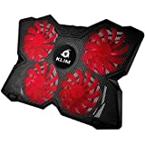 ⭐KLIM Wind Laptop Cooling Pad - The Most Powerful Slim PC Fan Cooler for Computer - Rapid Cooling Action - 4 Fans Ventilated Support - Light & Quiet - USB Laptops Portable Gaming Stand (Black and Red)