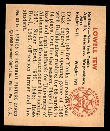 EX Yankees-FB Alabama Football Card 1950 Bowman # 83 Lowell Tew Yankees-FB
