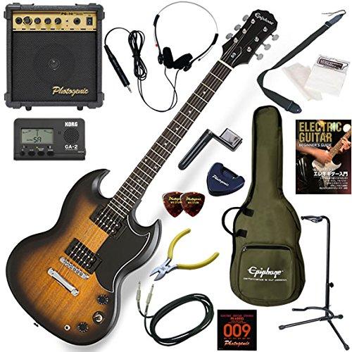 EPIPHONE エレキギター 初心者 入門 艶消しのウォーンフィニッシュのSG 10wアンプが入ったスタンダード15点セット SG-Special VE/VWVS(ビンテージウォーンビンテージサンバースト) B077Z8X9BV VWVS VWVS
