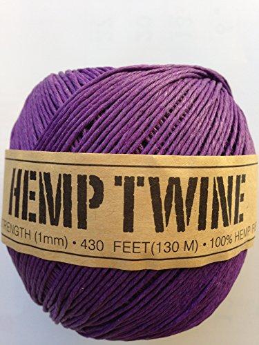 Hemp Twine Balls size 1mm, 143yd 130m 430ft each ball DIY Mulitple Color Options (Purple)