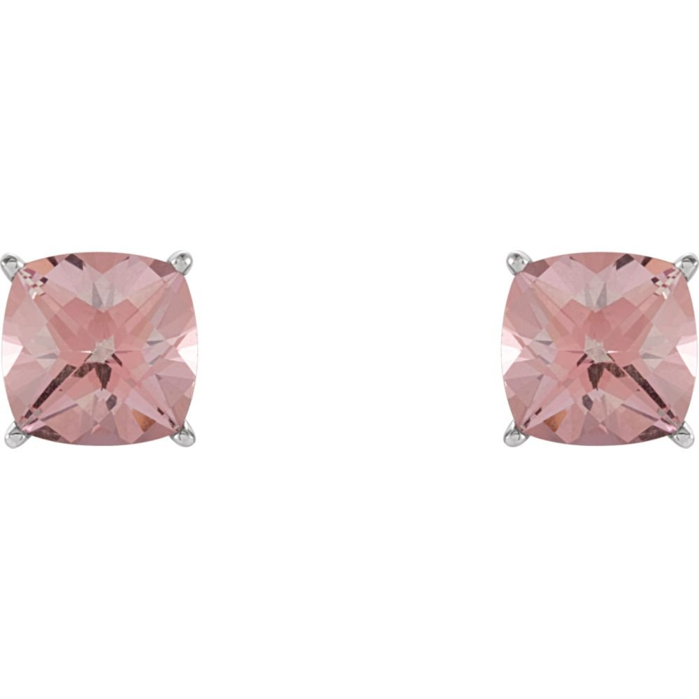 FB Jewels 14k White Gold Pink Topaz Earrings