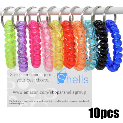 Shells 12PCS Bright Colorful Assorted Flesible Plastic Spiral Coil Wrist Band Stretchable Key Ring Chains With Key Holders For Office, Classroom,Sauna and Shopping Mall