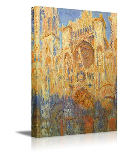 wall26 - Rouen Cathedral, Facade (Sunset) by Claude Monet - Impressionist Modern Art - Canvas Art Home Decor - 24x36 inches