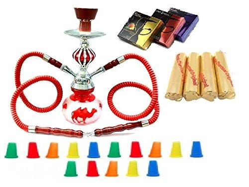 Zebra Smoke Starter Series: 11 2 Hose Taj Mahal Pumpkin Hookah Combo Kit Set w/ Instant Charcoal (Like Three Kings Charcoal), Hydro Herbal Molasses(like Blue Mist), and Hookah Mouth Tips Smokes More Than Hookah Pen (Red)