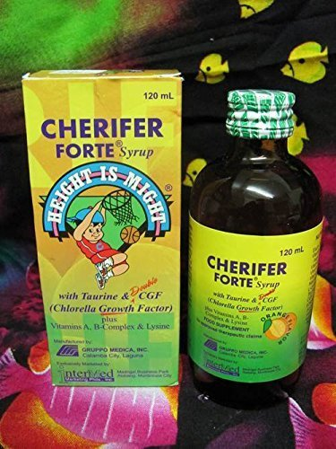 CHERIFER Forte Syrup with Chlorella Growth Factor, Taurine & Lysine Orange Flavor 120ml
