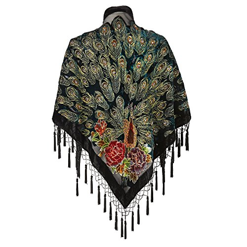 Women's Shawl - Silk & Velvet Peacock Feather Print Beaded Shawl