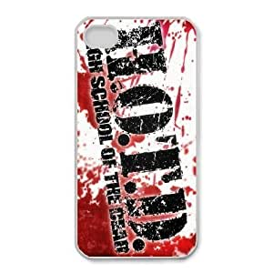 Durable Phone Case Ahtto iPhone 4,4S Cell Phone Case White HIGHSCHOOL OF THE DEAD Plastic Durable Cover