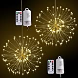 LED String Light,2 Pack Battery Operated Hanging Starburst Light 120 LED Bouquet Shape lights,Fairy Twinkle Light 8 Modes Dimmable with Remote Control,Decoration for Outdoor Home Patio(Warm White)