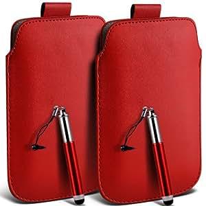 Alcatel One Touch Star 6010D premium protección PU ficha de extracción Slip Cord En la cubierta de la caja del filtro del bolsillo de la Piel y Mini capacitiva lápiz óptico retráctil rojo por (Twin Pack) Fone-Case