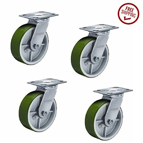 Set of 4 Albion Swivel Plate Casters and 8'' x 2'' Polyurethane on Steel Wheels by Albion