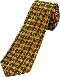 Zarrano Skinny Tie 100% Silk Woven Rust/Olive Patterned Tie