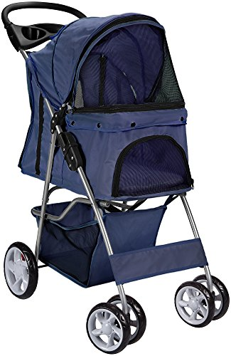 Paws & Pals City Walk N Stride 4 Wheeler Pet Stroller for Dogs and Cats (Navy Blue) from Paws & Pals