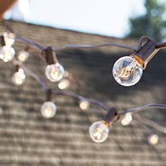 String Lights Guide Wire : Globe String Lights, 1.25 in. Bulbs, 100 Ft Brown Wire, E12, C7, Clear, Includes Guide Wire ...
