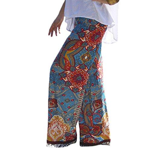 Generic Women's Bohemian Floral Stem-pipe Casual Wear Pants KZ0010 (M, brown)