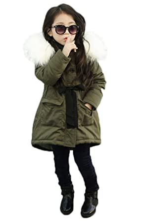 MILEEO Kids Kinder Jacke Mit Kapuze Mädchen Wintermantel Parka Schule Jacken Outwearlinie Mantel Winter Jacke Coat Oberbekleidung