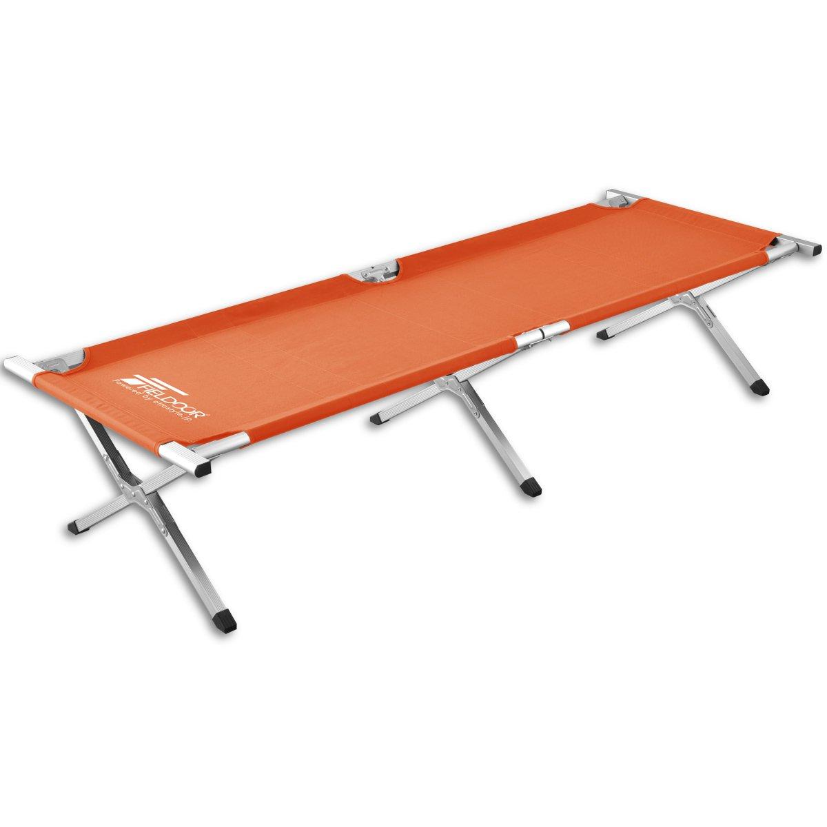FIELDOOR アウトドアコット 耐荷重180kg 190×69×40cm アルミ キャンプベッド ベンチ 折りたたみ式 簡単