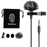 AGD Micrófono de solapa profesional externo TRS 3.5 Lavalier Clip Omnidireccional Lav Mini micrófono compatible con DSLR…