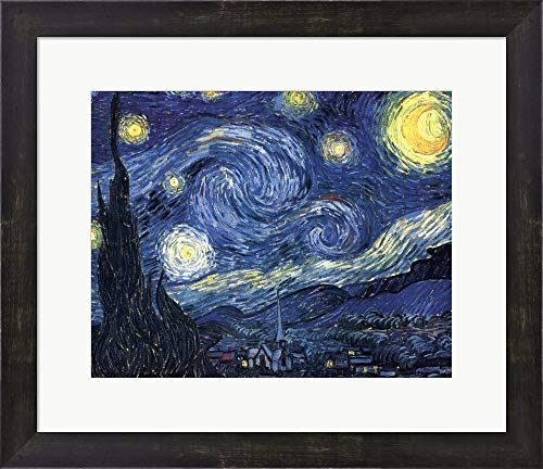 The Starry Night, c.1889 by Vincent Van Gogh Framed Art Print Wall Picture, Espresso Brown Frame, 18 x 16 inches