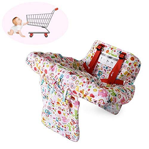 (Urnanal Multifunctional 2-in-1 Baby Shopping Cart Cover High Chair Cover, Supermarket Trolley Dining Chair Protection Antibacterial Safety Travel Portable Mat)