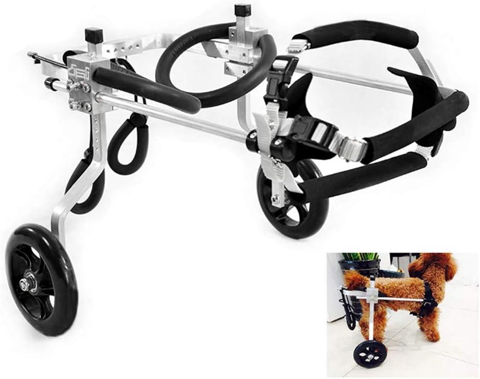 AMITD - Silla de ruedas para perros (1-20 kg, ajustable, 2 ruedas, para adultos, gatos, patas traseras, rehabilitación, andador, aleación de aluminio)