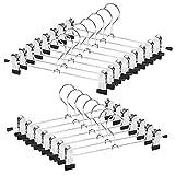 Metal Slacks Skirts Hangers, Space Saving Pants Hangers for Children Heavy Duty Skirts Hangers with 2 Adjustable Non Slip Clips, A Pack of 15 Flexible Hangers for Skirts, Pants, Slacks, Shorts
