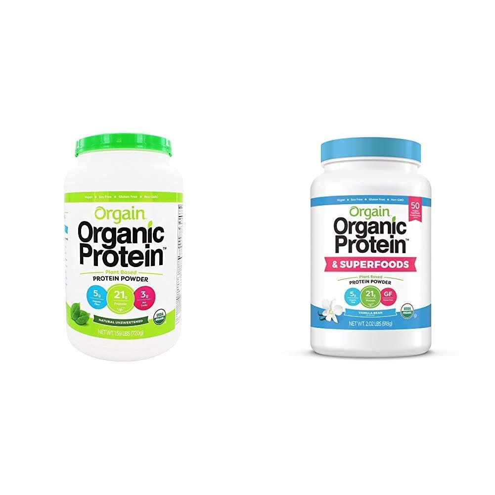 Orgain Organic Plant Based Protein Powder, Natural Unsweetened - Vegan, Low Net Carbs, 1.59 Pound & Organic Plant Based Protein + Superfoods Powder, Vanilla Bean - Vegan, Non Dairy, 2.02 lb