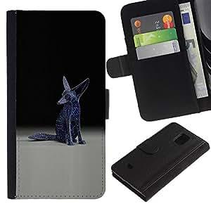 KingStore / Leather Etui en cuir / Samsung Galaxy S5 Mini, SM-G800 / Fennec Fox Estatua Arte Moderno Universo Blue Stars