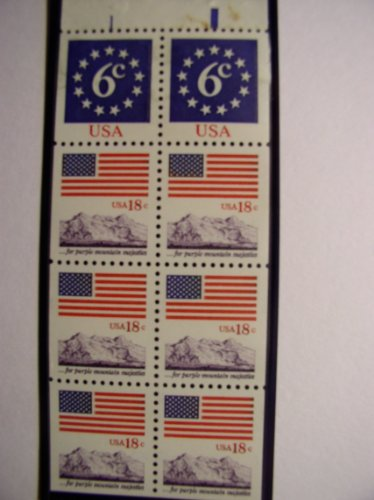 US Postage Stamps, 1981, Flag & Anthem, S# 1893a, Booklet Pane of 8 18 Cent Stamps, MNH