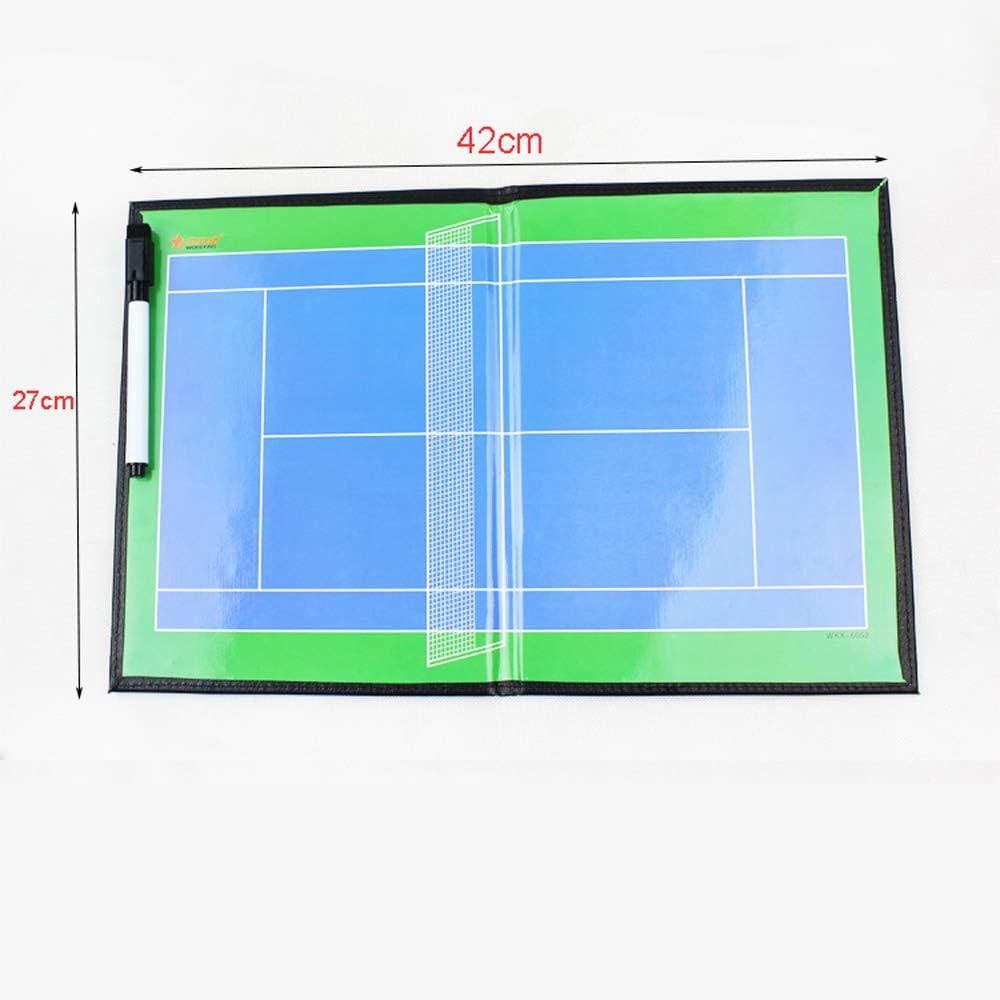 ZJIAN Tableau Tactique Badminton Pliant magn/étique r/éinscriptible Portable Professionnel Fournitures Coach Badminton Coach Tableau avec Gomme,aimants,Stylo,Couverture en Cuir