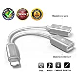 SAR 2 in 1 Adapter and Charger, to Aux Headphone Jack Audio Adapter (Compatible with Latest System)(Silver)