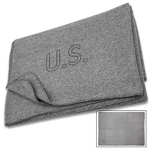 Trailblazer Reproduction US Military Medic Grey Wool Blanket - 80 Percent Wool Construction, Printed Logo - Dimensions 64