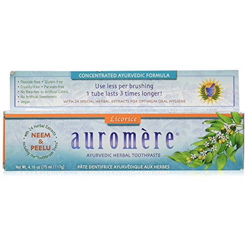 Ayurvedic Herbal Toothpaste (Classic)Licorice by Auromere - Fluoride-Free, Natural, with Neem and Vegan - 4.16 - Toothpaste Herbal Flavored