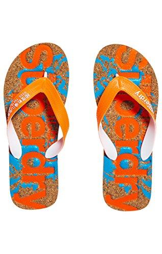 Superdry Herren Printed Cork Flip Flop Zehentrenner Multicolore (Havana Orangehawai Blue Hibiscus)